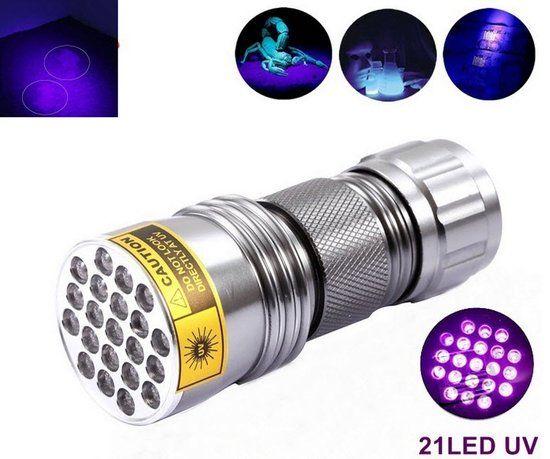Premium Compacte UV Zaklamp 21 Led 395nm Ultra Violet Lamp voor de  Opsporing van Urine vlekken door Honden en Katten, Geo-caching, en Controle Vals Geld & Namaak. Top