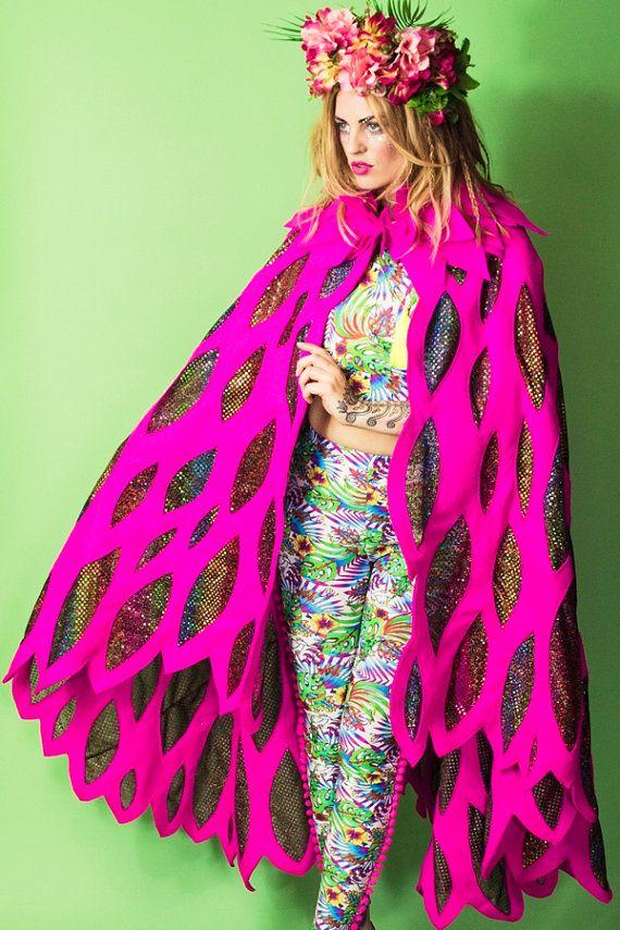 Festival Cape, feathers, glitter, sequin, sparkle, bird wings, felt, pink, burning man
