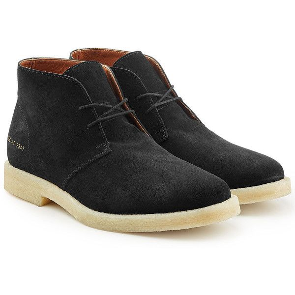 Common Projects Suede Chukka Boots (2911690 PYG) ❤ liked on Polyvore featuring shoes, boots, black, chukka boots, chukka shoes, black suede boots, suede boots and chukka style boots