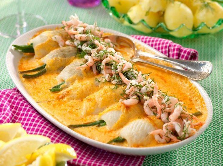 Fiskgratäng med spätta, räkor och hummersmak