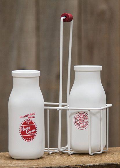 KP Creek Gifts - Retro Milk Bottles w/Carrier, Small
