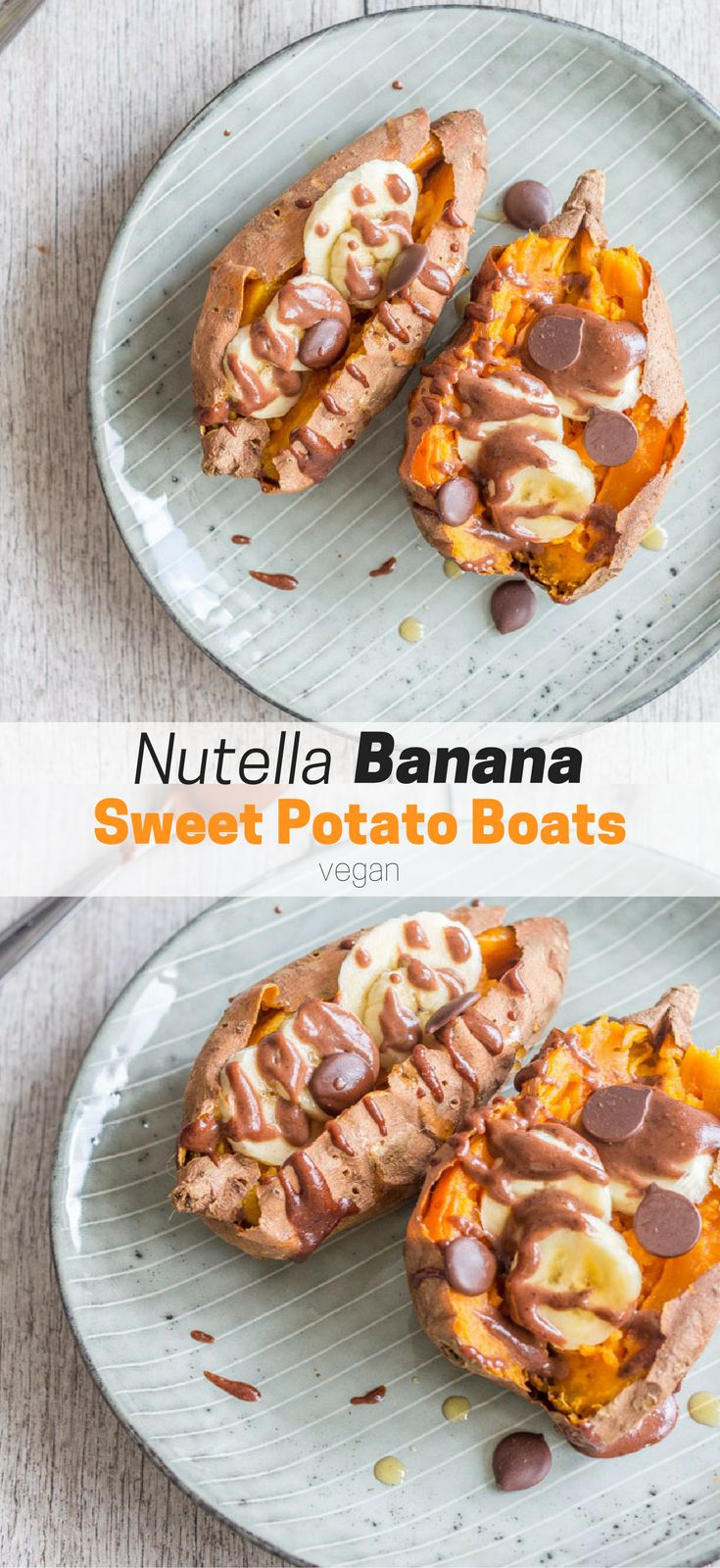 These Nutella Banana Sweet Potato Boats are vegan, perfectly sweet, filling, healthy, and SO delicious. Great for breakfast or dessert! Healthy vegan recipes|healthy| vegan| snack| dessert| recipes| vegetarian| The Mostly Healthy | chocolate
