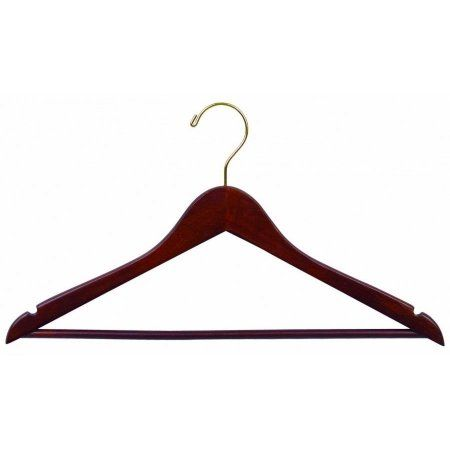 Wood Suit Hanger w/ Solid Wood Bar, Box of 100 Space Saving 17 Inch Flat Wooden Hangers w/ Walnut Finish & Brass Swivel Hook & Notches for Shirt Dress or Pants by International Hanger, Brown
