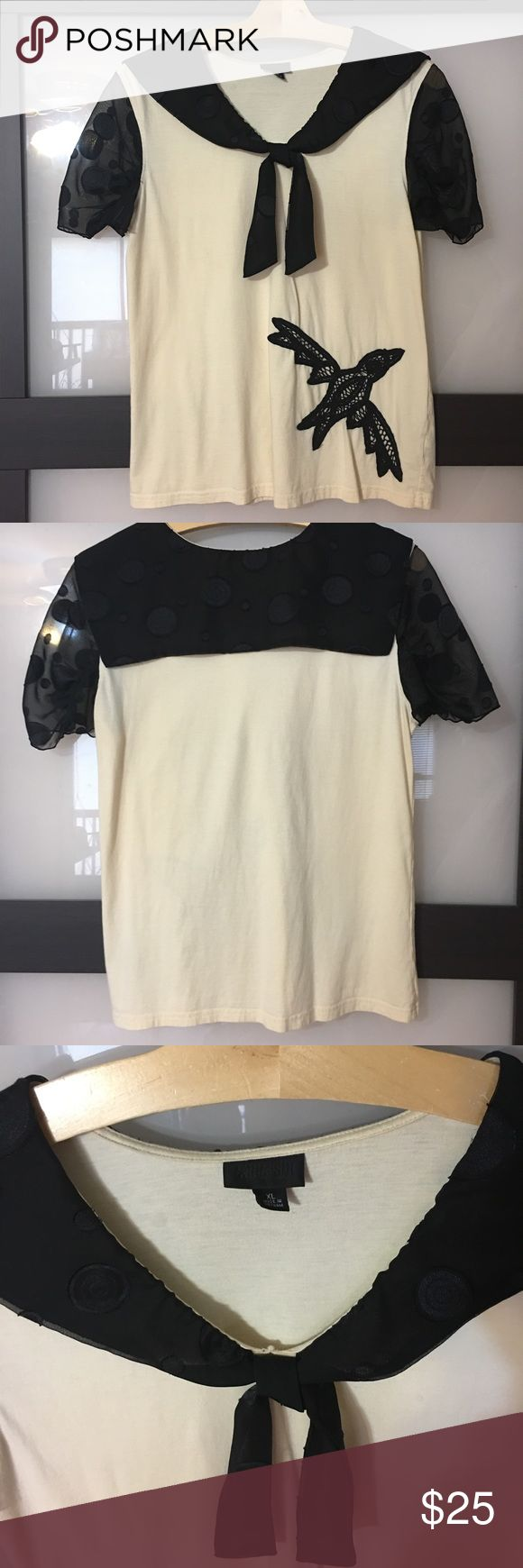 Anna Sui Top Anna Sui Top.  Color cream & black.   Size XL. Top is in good condition. Anna Sui Tops