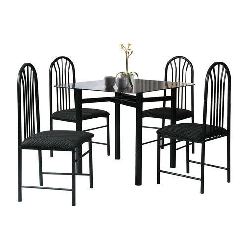 5 Piece Glass Dining Set Metal Table Chairs Home Kitchen Furniture Square Black #5PieceGlassDiningSet #Contemporary