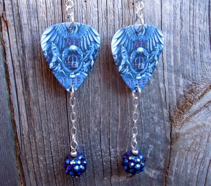 Classic Queen Album Cover Guitar Pick Earrings with Rhinestone Dangles by ItsYourPickToo on Etsy