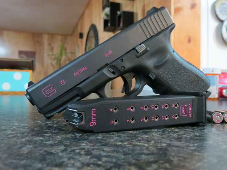 My Glock 19 that I detailed in pink, myself with fingernail polish. Pretty easy! I love it! Pink Finger nail polish and no-acetone polish remover. Paint over engraved #'s and letters, let dry then, gently rub off excess nail polish with non-acetone nail polish remover. The pink polish will remain in the engraved #'s and letters. You might want to do it twice.