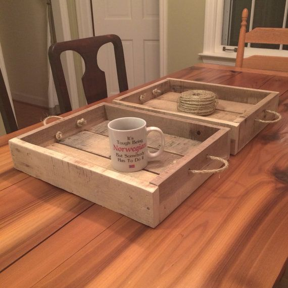 """These trays measure 12"""" x 16"""" x 3.5"""" high - Reclaimed wood pallet tray"""