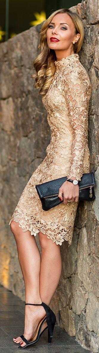 Women's fashion golden lace dress   Just a Pretty Style