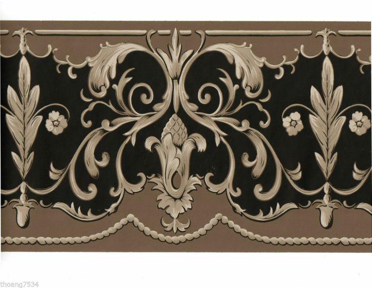 Victorian Wallpaper Borders | Victorian Scroll Swirl Leaf Tassle Taupe Brown Black Wallpaper Border ...