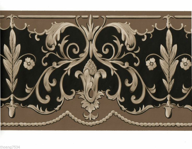 Victorian Wallpaper Borders | Victorian Scroll Swirl Leaf Tassle Taupe Brown Black Wallpaper Border ...