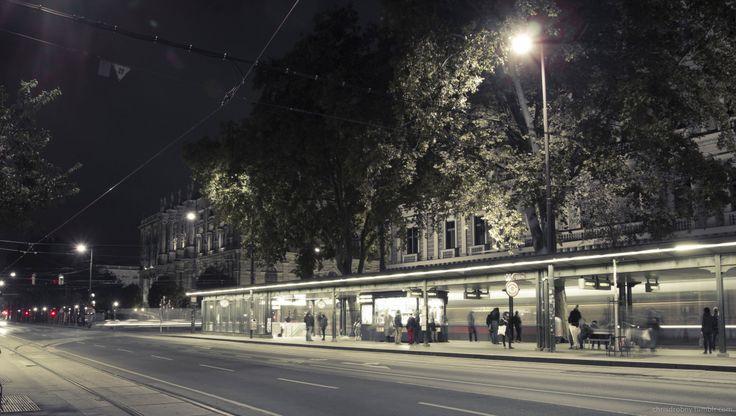 Dr. Karl Renner Ring @ Night. Wien, Vienna.
