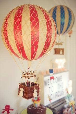Large Vintage Hot Air Balloon - red by Oliver's Twisty Tales