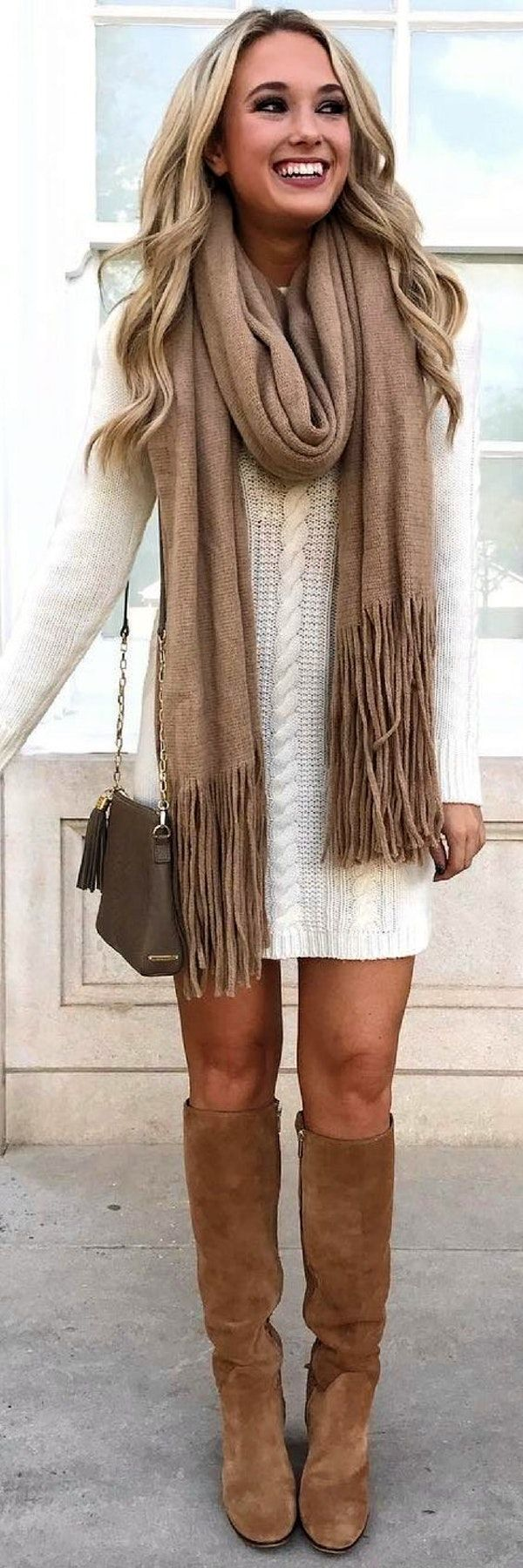 #winter #outfits white lace long-sleeved dress with brown fringed scarf and brown leather knee-high boots