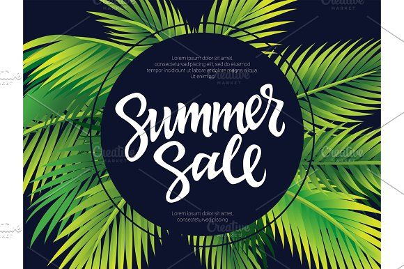 Summer Sale - vector leaflet template with brush lettering  @creativework247