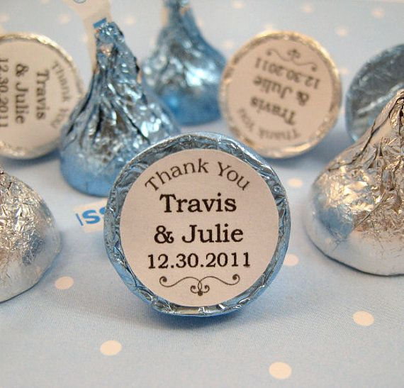 Thank You Wedding Personalized Hershey's Kisses Stickers Labels Kiss Favors - Set of 192 Stickers