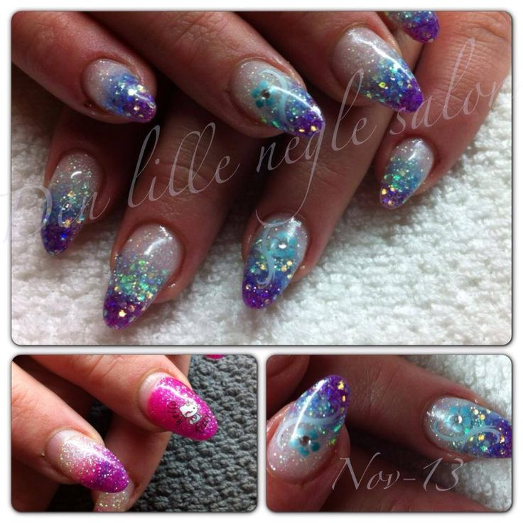 Before and after pic.  Glitter nails made in my salon in Denmark.  www.facebook.com/denlilleneglesalon