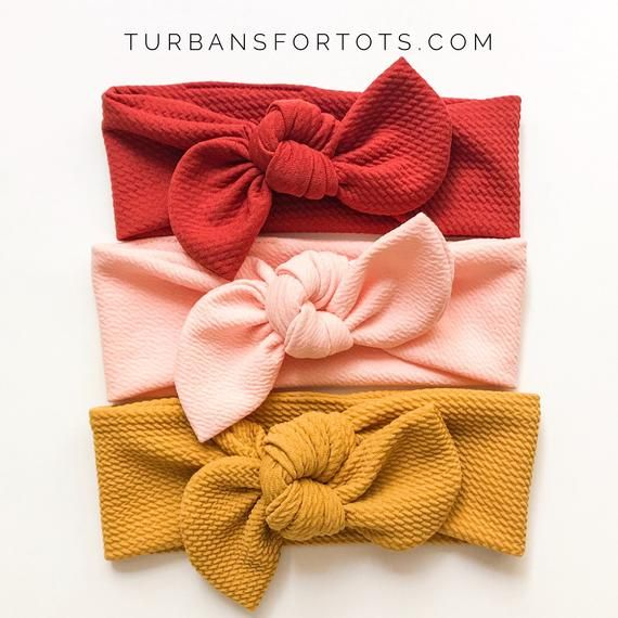 Pantone Textured Set : {3 items} Rust Red, Pale Peach & Mustard Textured top knots