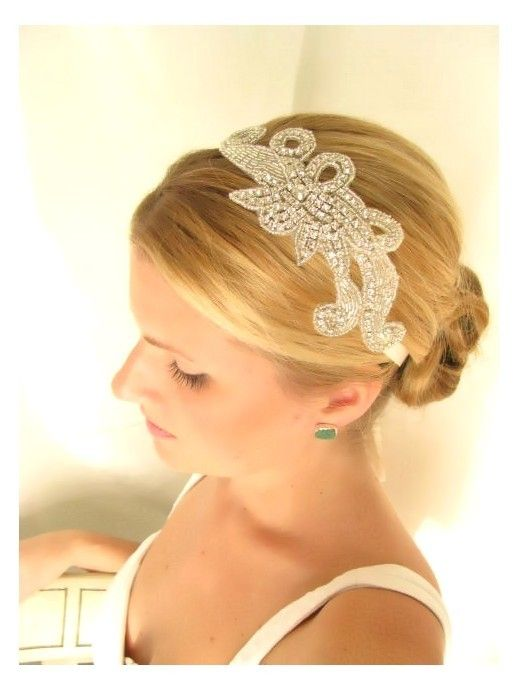 Iris  bridal headband, rhinestone headband, wedding headband, bridal hair accessories. $46.00, via Etsy.