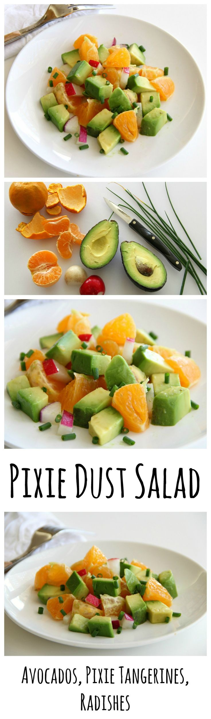 Pixie Dust Salad: California-style salad in which creamy avocado meets super sweet Ojai Pixie tangerines and crunchy radishes in the presence of cumin and chives and vanilla salad dressing. Magic ensues!