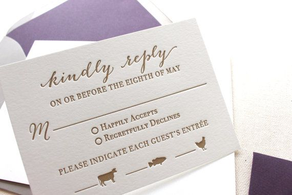 Letterpress printed response card with adorable meal choice icons.