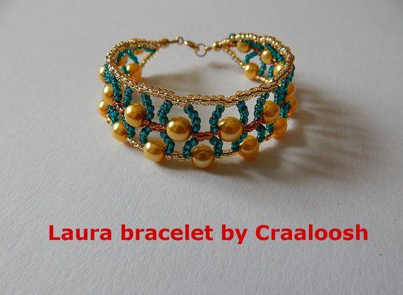LAURA gold-green beaded  Bracelet by Craaloosh. by Craaloosh