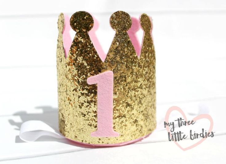 First Birthday Crown, Girl Party Hat, Toddler Girl Birthday, Gold and Pink Party, Gold Glitter Crown, Princess Party Theme, 1st Birthday by My3BirdiesShop on Etsy https://www.etsy.com/listing/567166865/first-birthday-crown-girl-party-hat