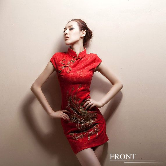 Casual women dress for Spring and Autumn - Red floral beaded phoenix- short sleeve women clothing cheongsam qipao dress