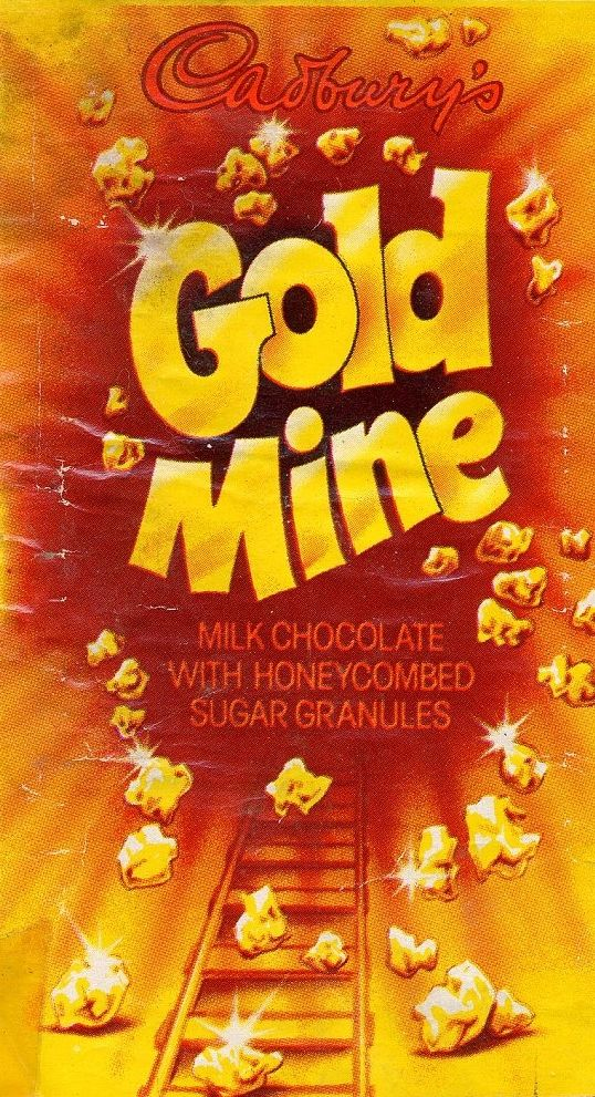 I'm so sad that at Labels Zoo we make labels now - they were much cooler in the 80's Cadbury's Gold Mine Chocolate bar 1970's