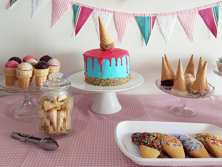Vichy Pink and White Gingham Fabric makes the perfect table cloth and bunting for a kids ice cream themed party