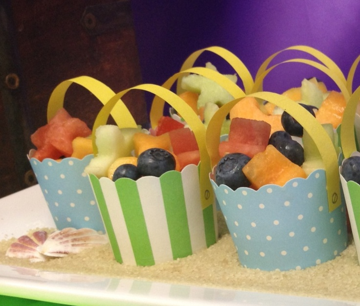 Buckets of fruit.  Healthy and fun party food for kids.  Done for Mermaid party
