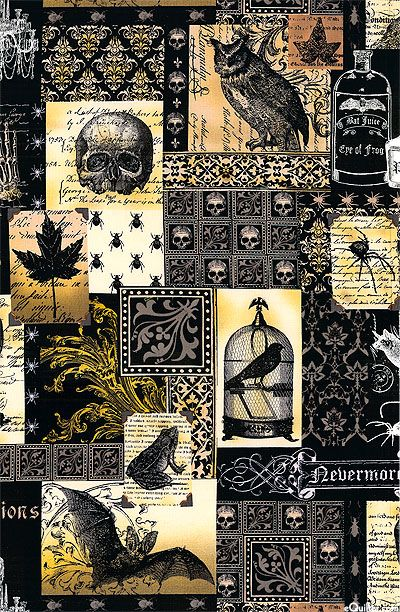 Fabric~ macabre world of Edgar Allan Poe collage of skulls, spiders, bats, elegant Victorian ornaments, Raven, owl