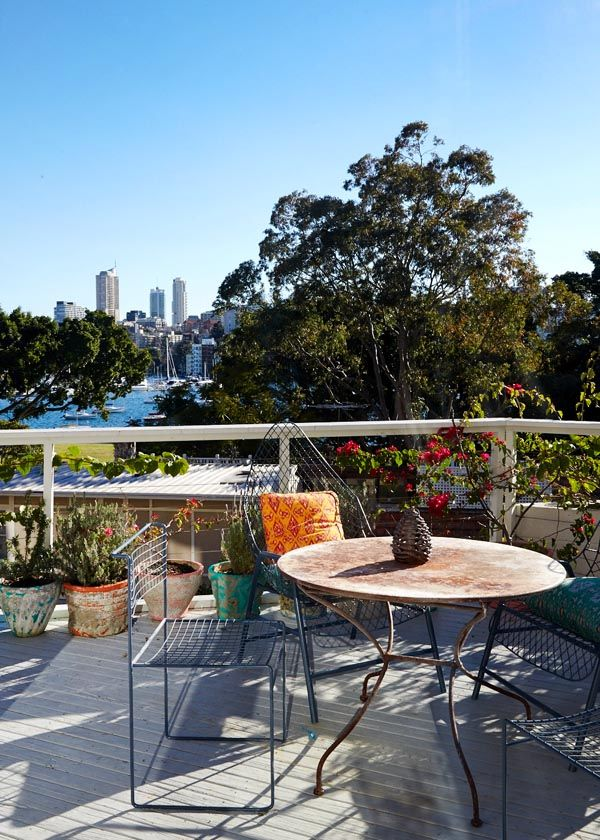 Amazing deck overlooking Rushcutters Bay! Table from Parterre, powder coated chairs from hard rubbish, and some lower lounge chairs in inte...