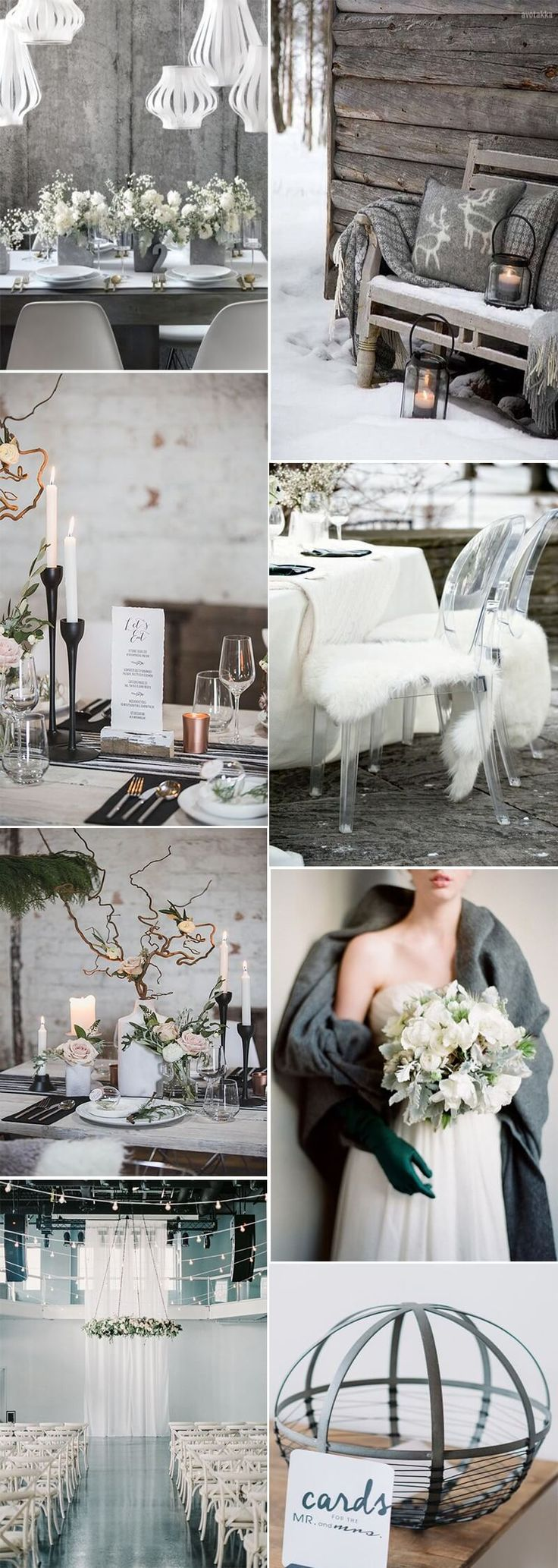 If you dream of a sparkling winter, or even Christmas wedding without the red and gold bells and whistles! Have a look at our choice of inspiration for a cool, classic Scandinavian look
