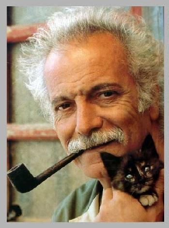 Georges Brassens et un de ses chats