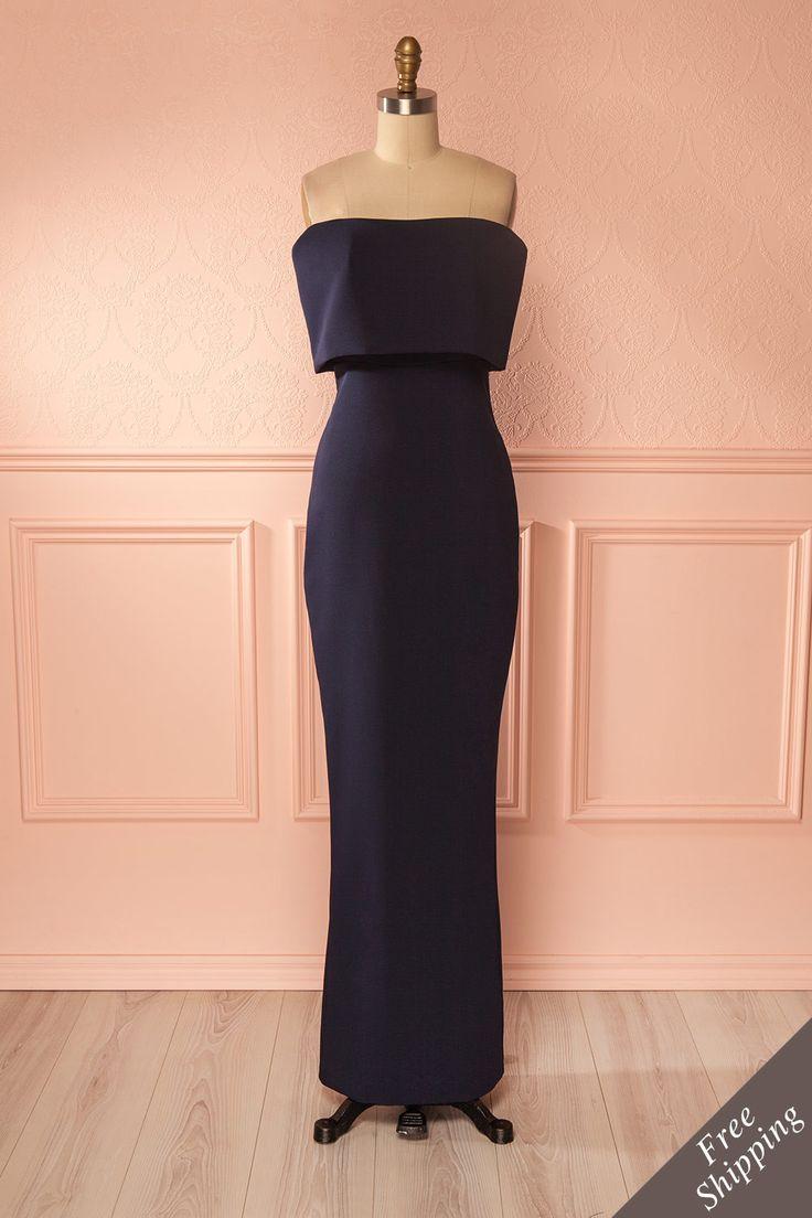 Lyuba Navy - Navy blue ruffle neckline gown, when modernity and elegance collide. #promdresses #eveningown