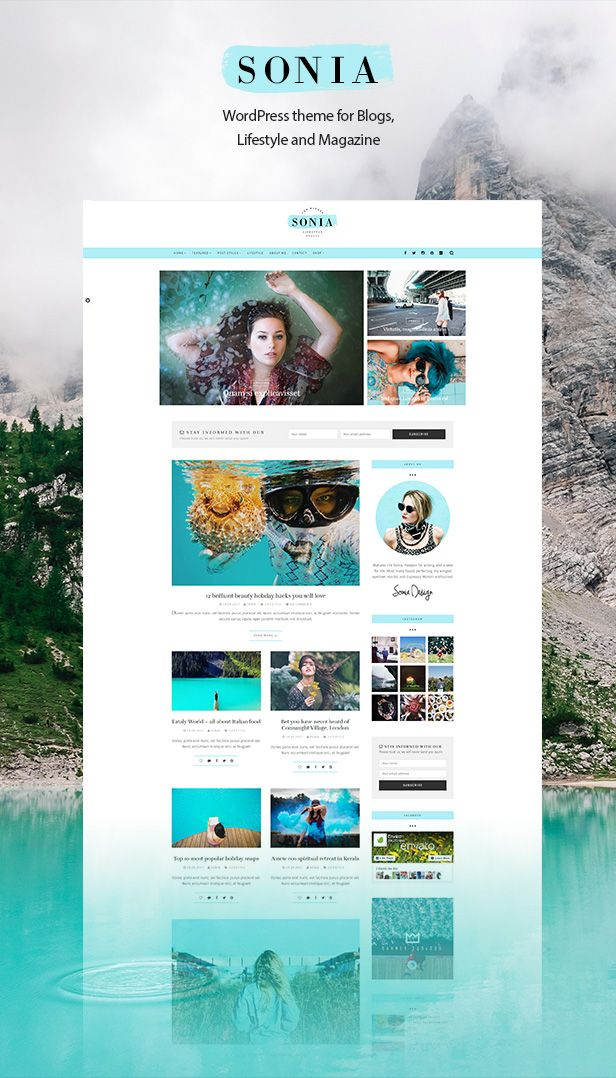 Sonia – The best WordPress personal blog theme       Sonia is a beautiful WordPress travel theme that is perfectly suitable for a travelling blog or magazine. If you are a traveler or a travel ag...