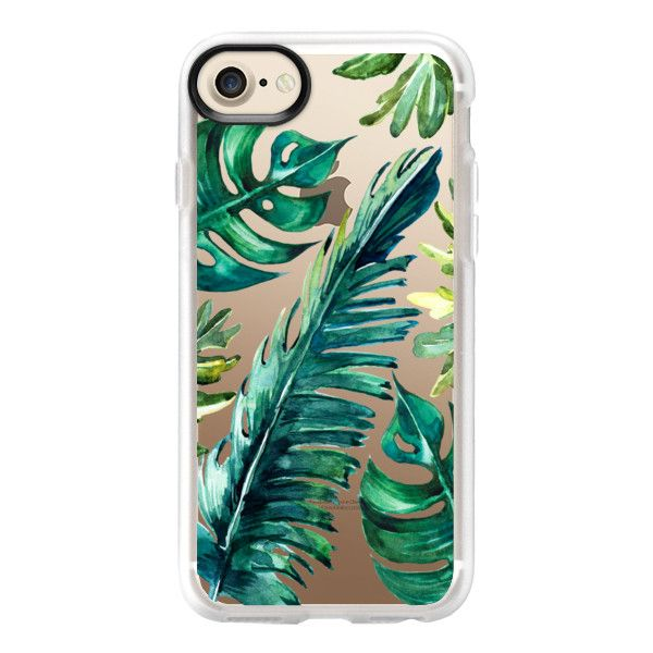 TROPICAL BANANA LEAVES WATERCOLOR - iPhone 7 Case And Cover (533.560 IDR) ❤ liked on Polyvore featuring accessories, tech accessories, phone cases, iphone, phone, iphone case, clear iphone case, iphone cover case, iphone cases and apple iphone case