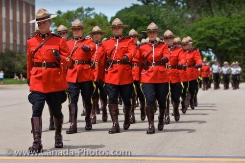 Picture of uniforms worn by the RCMP Academy members in the parade and graduation Ceremony in the City of Regina, Saskatchewan.