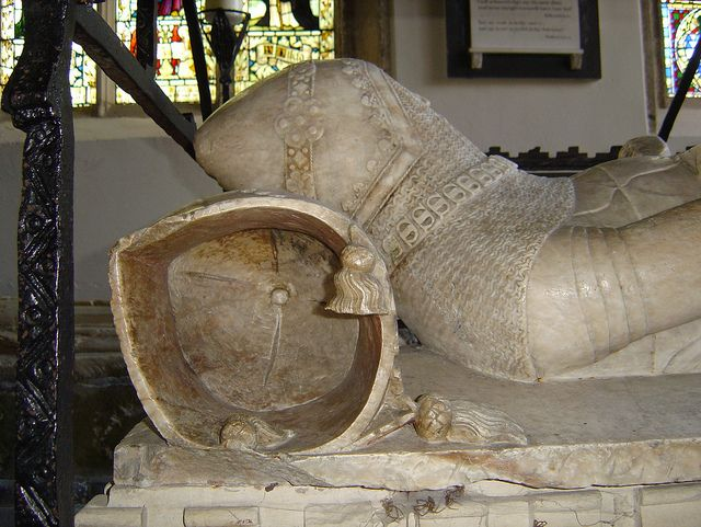 How often do you get to see the liner of a great helm?  Thank you, ROEL REMANS!! | ca. 1387-1400 - 'Sir John Marmion (né Grey) (+1387) and Elizabeth St. Quintin (+1400)', St. Nicholas' Church, West Tanfield, North Yorkshire, England | Flickr - Photo Sharing!