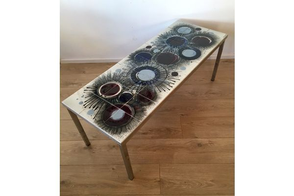 Mid Century Hand Painted Tiled Top Coffee Table Signed Vigheroy Retro 1960's |   #midcentury #modern #20thcentury