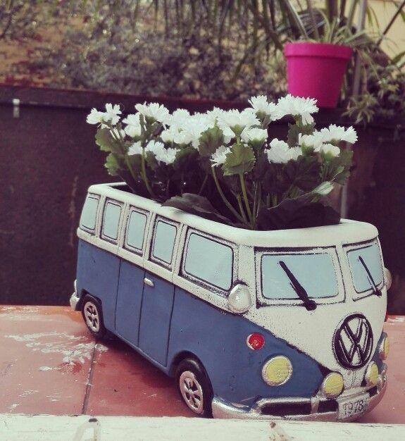 Vw Camper Van >> Volkswagen t1 kombi samba bus retro vintage maceta flowers pot | Volkys | Macetas, Jardines y ...