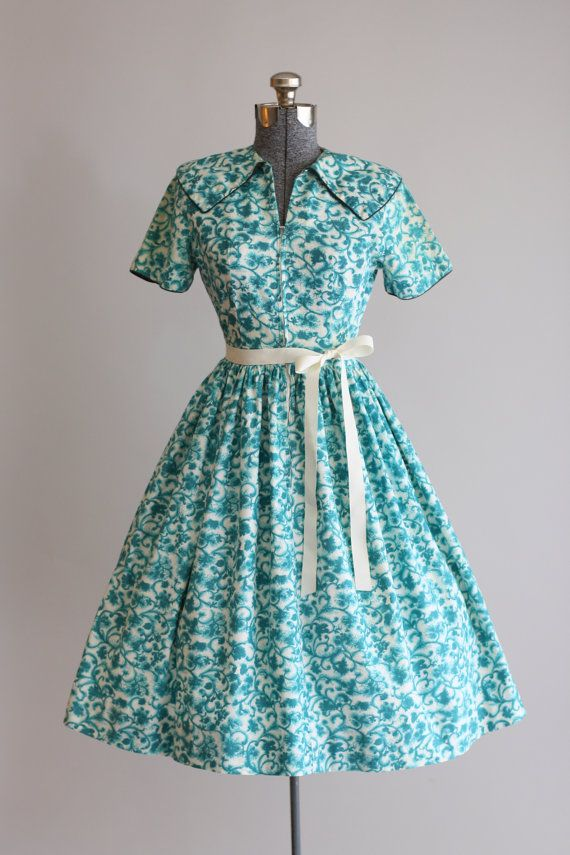 Vintage 1950s Dress / Mode O Day / Turquoise by TuesdayRoseVintage