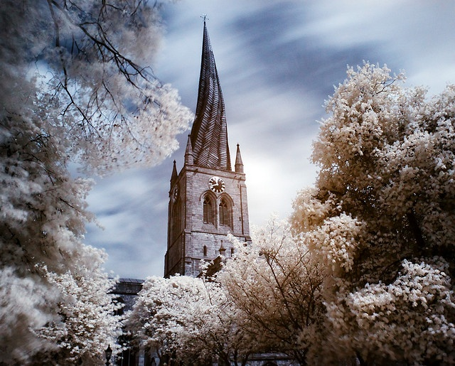 Crooked Spire in Chesterfield, Derbyshire, UK.