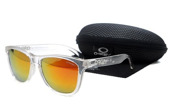 Oakley Frogskins Sunglasses Transparent Frame Gradient Orange Lens , sale  $16 - www.hats-malls.com