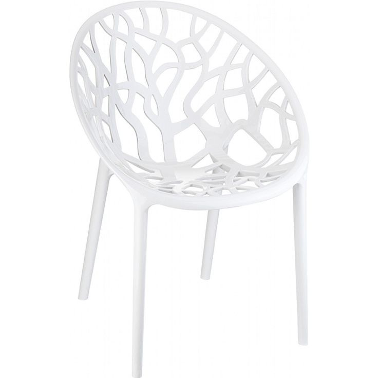 Crystal Polycarbonate Modern Dining Chair Glossy White (Set of 2)