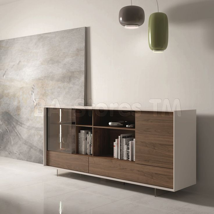 205 Modern Walnut / Grey Lacquer Buffet with LED Lights