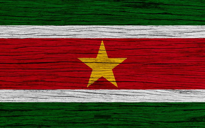 Download wallpapers Flag of Suriname, 4k, South America, wooden texture, Surinamese flag, national symbols, Suriname flag, art, Suriname