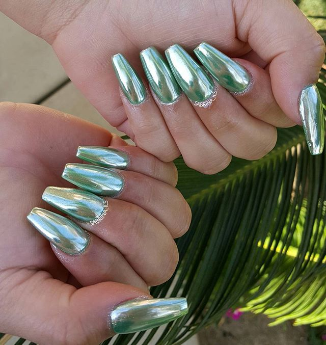 Mint green chrome nails