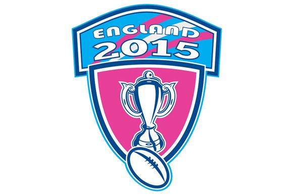 Illustration of rugby cup and ball set inside shield crest with words England 2015 done in retro style. The zipped file includes editable vector EPS, hi-res JPG and PNG image.